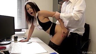 Brunette slutty maid Natalie Hot bent over the desk and pounded hard
