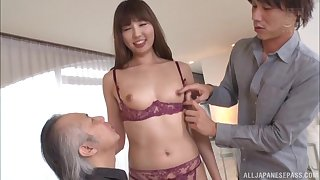 Japanese brunette MILF in a hardcore threesome with two guys