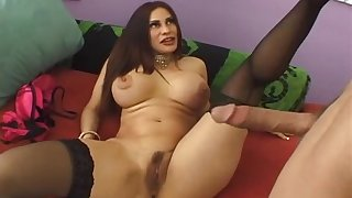 Brunette MILF in stockings Sheila Marie gets cum all over her sexy feet
